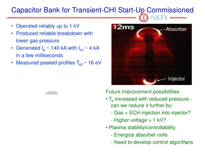 Capacitor Bank for Transient-CHI Start-Up Commissioned