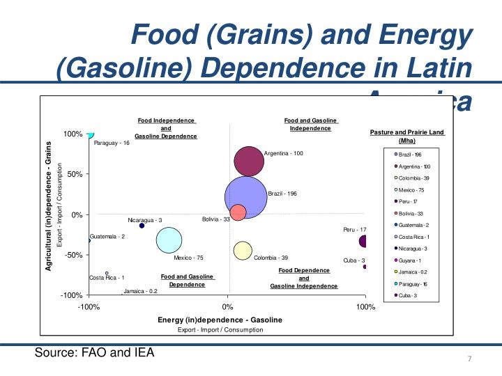 Food (Grains) and Energy (Gasoline) Dependence in Latin America