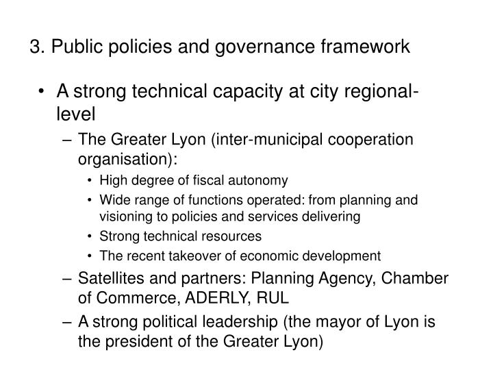 3. Public policies and governance framework