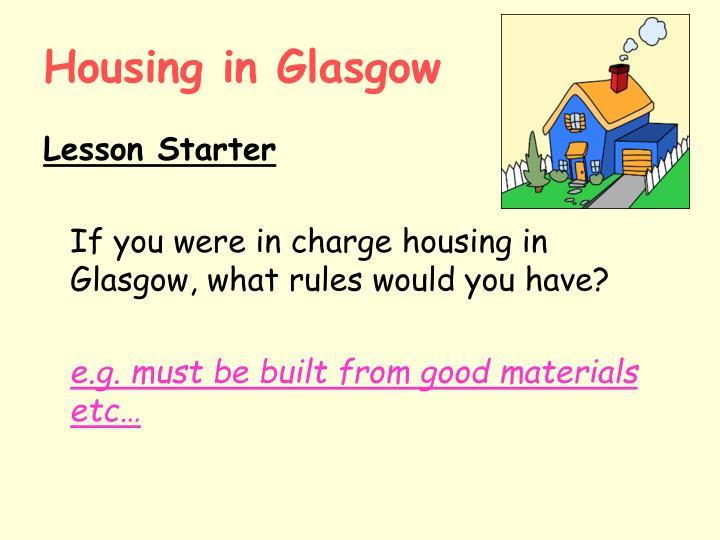 Housing in Glasgow