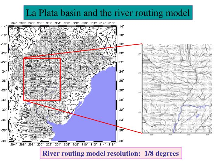 La Plata basin and the river routing model