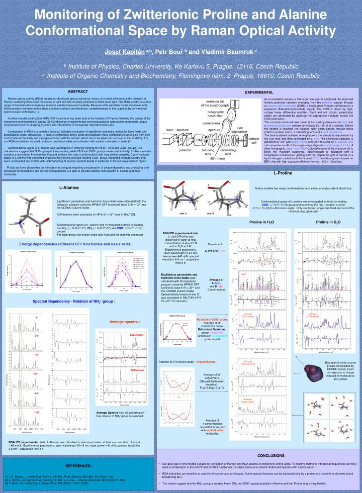 Monitoring of Zwitterionic Proline and Alanine Conformational Space by Raman Optical Activity