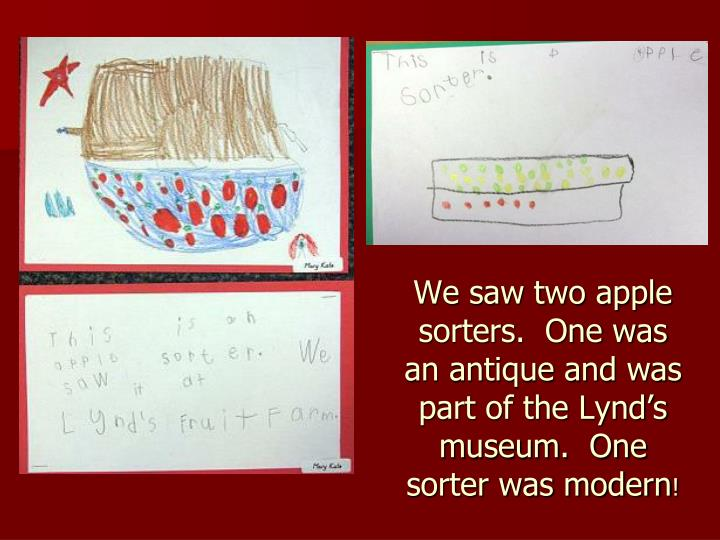 We saw two apple sorters.  One was an antique and was part of the Lynd's museum.  One sorter was modern
