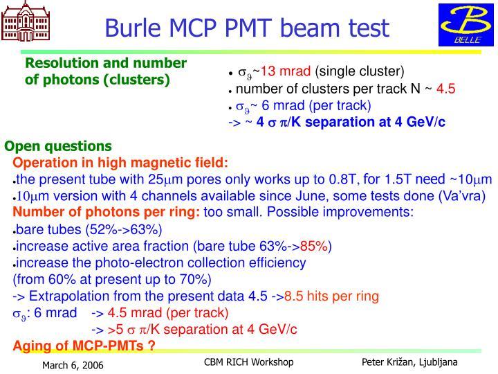 Burle MCP PMT beam test
