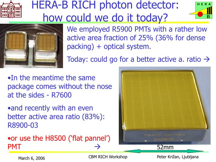 HERA-B RICH photon detector: how could we do it today?