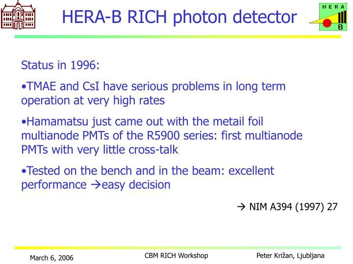HERA-B RICH photon detector