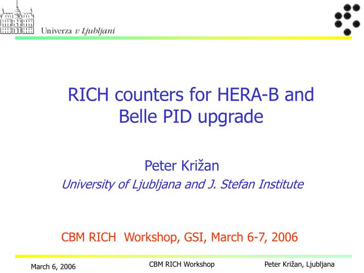 Rich count e r s for hera b and belle pid upgrade