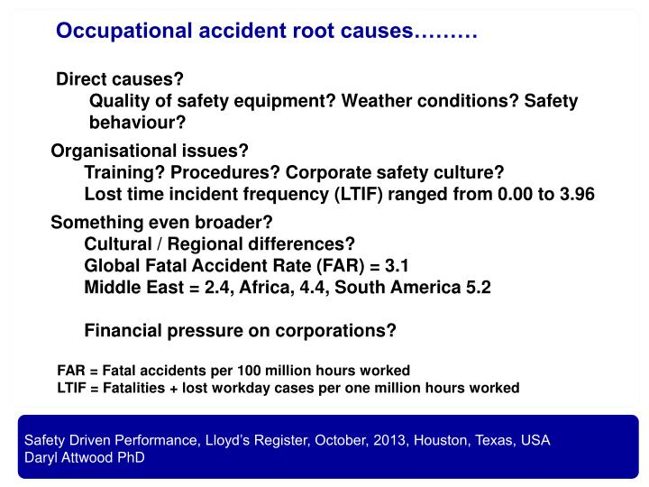 Occupational accident root causes………