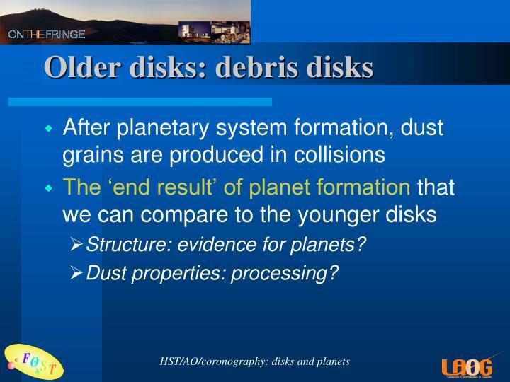 Older disks: debris disks