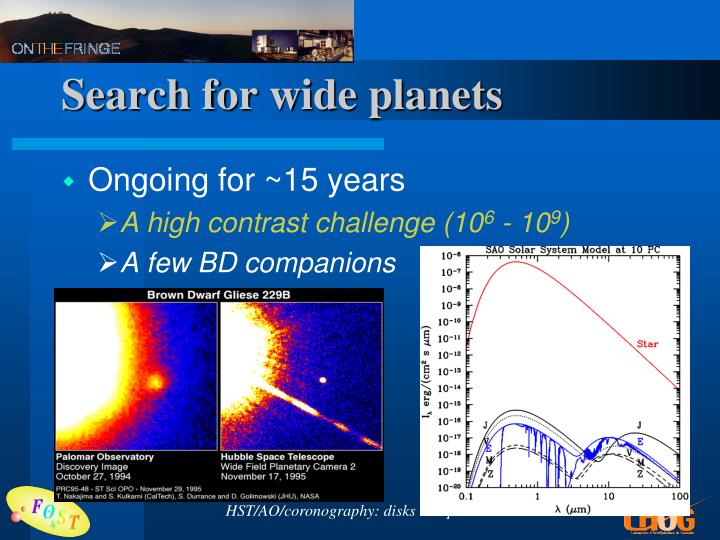 Search for wide planets