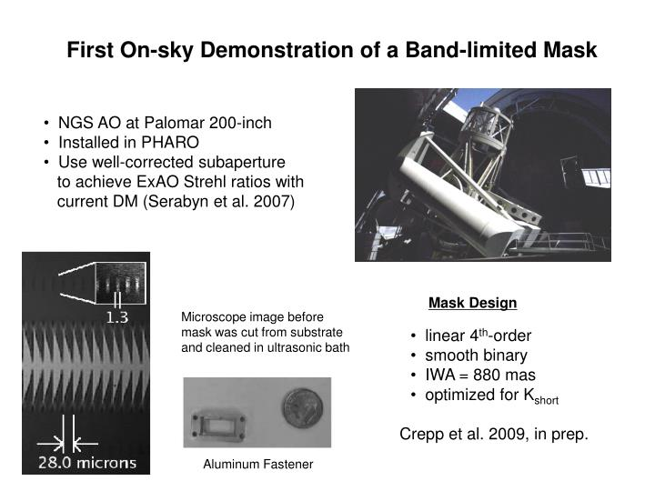 First On-sky Demonstration of a Band-limited Mask