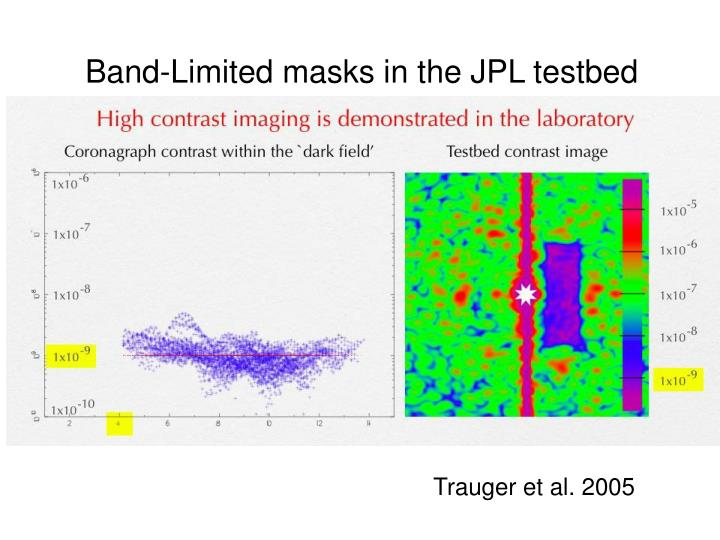Band-Limited masks in the JPL testbed