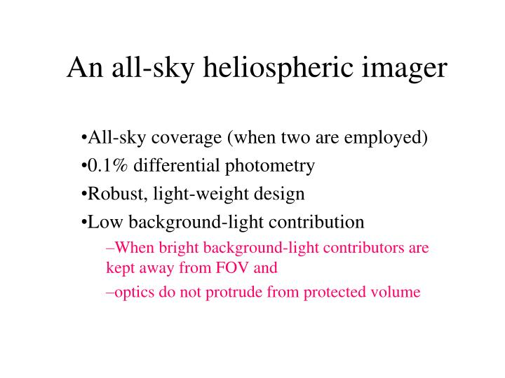 An all sky heliospheric imager