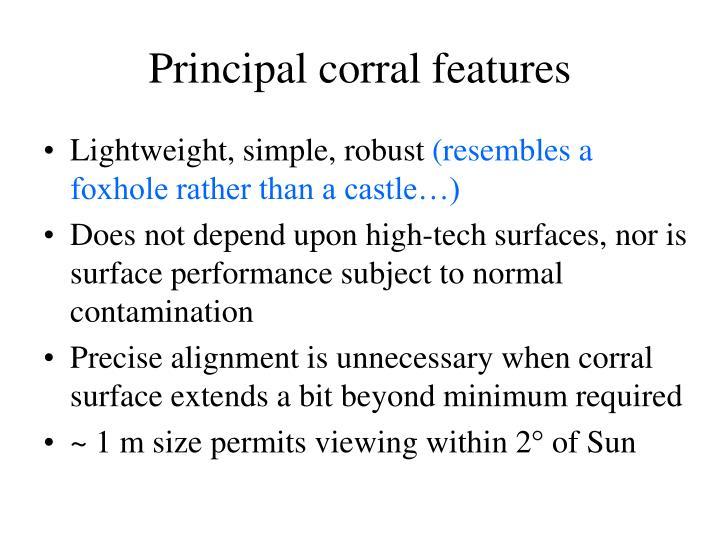 Principal corral features