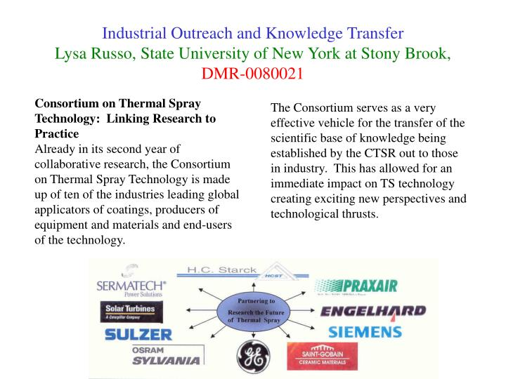 Industrial Outreach and Knowledge Transfer