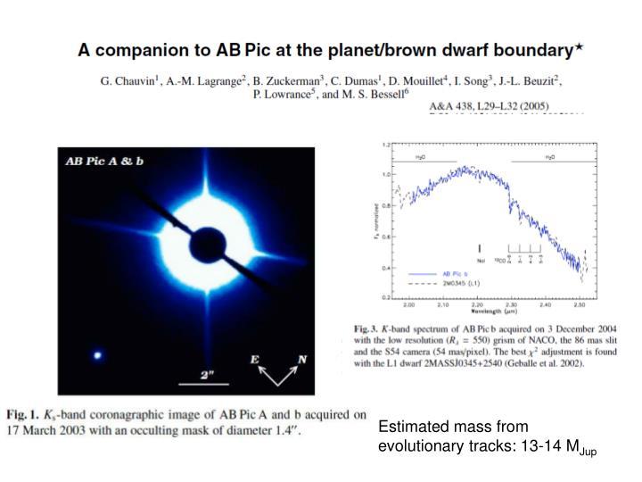 Estimated mass from evolutionary tracks: 13-14 M
