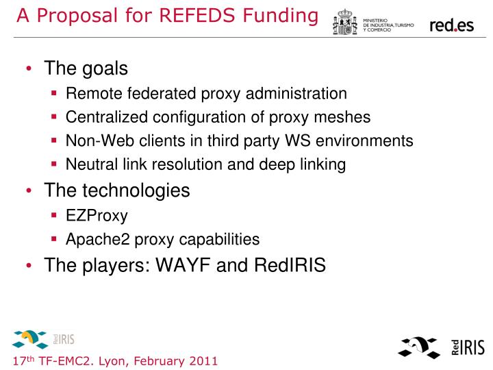 A Proposal for REFEDS Funding