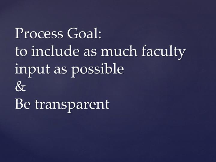 Process goal to include as much faculty input as possible be transparent