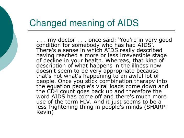 Changed meaning of AIDS