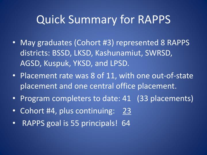 Quick Summary for RAPPS