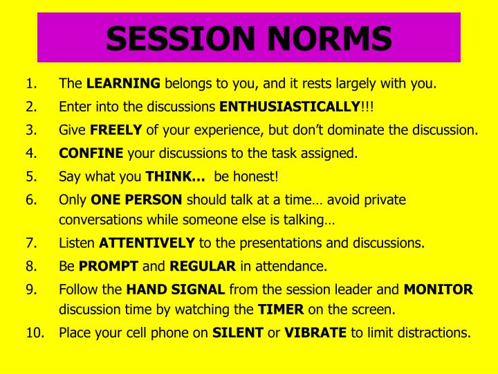 SESSION NORMS