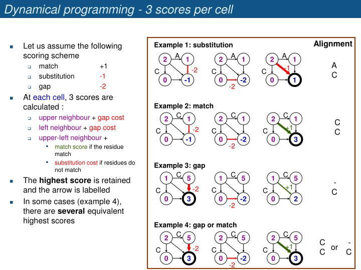 Dynamical programming - 3 scores per cell