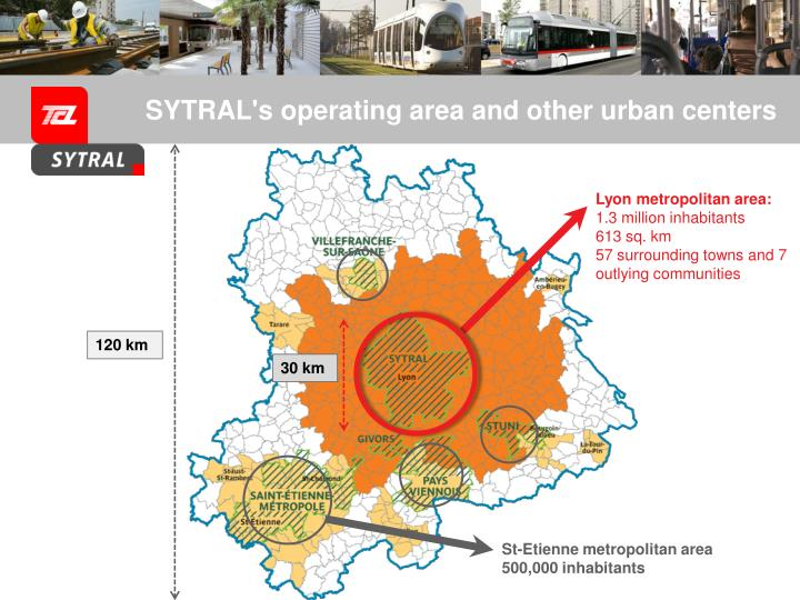SYTRAL's operating area and other urban centers