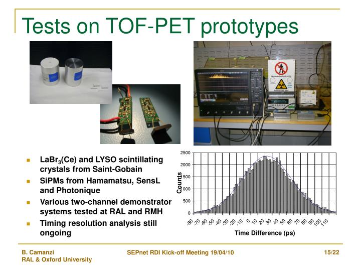 Tests on TOF-PET prototypes