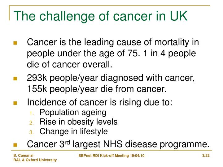 The challenge of cancer in uk