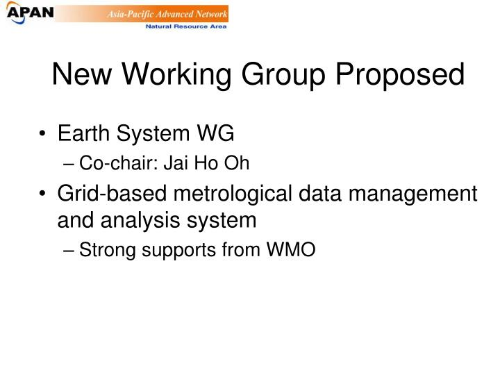 New Working Group Proposed