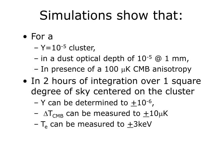 Simulations show that: