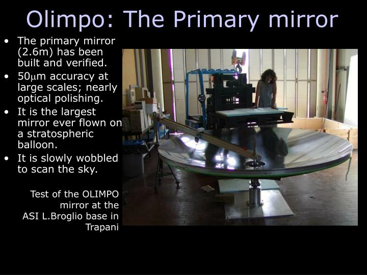 Olimpo: The Primary mirror