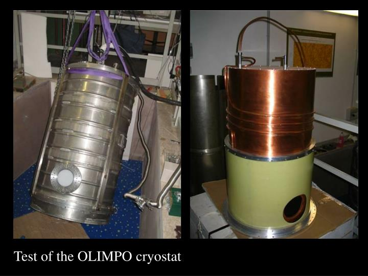 Test of the OLIMPO cryostat