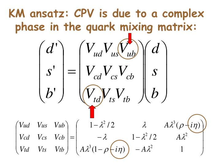 KM ansatz: CPV is due to a complex phase in the quark mixing matrix: