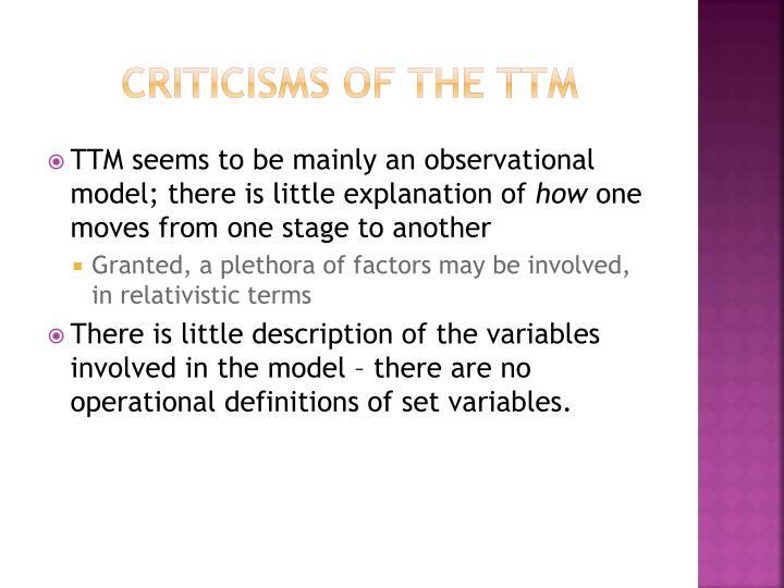 Criticisms of the TTM