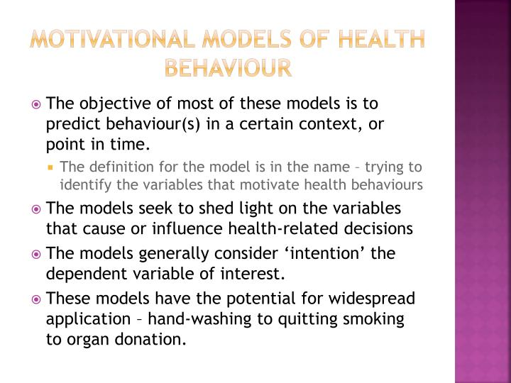 Motivational models of health behaviour