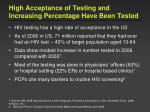 high acceptance of testing and increasing percentage have been tested
