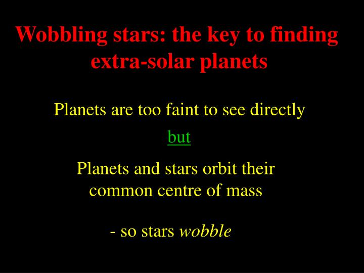 Wobbling stars: the key to finding