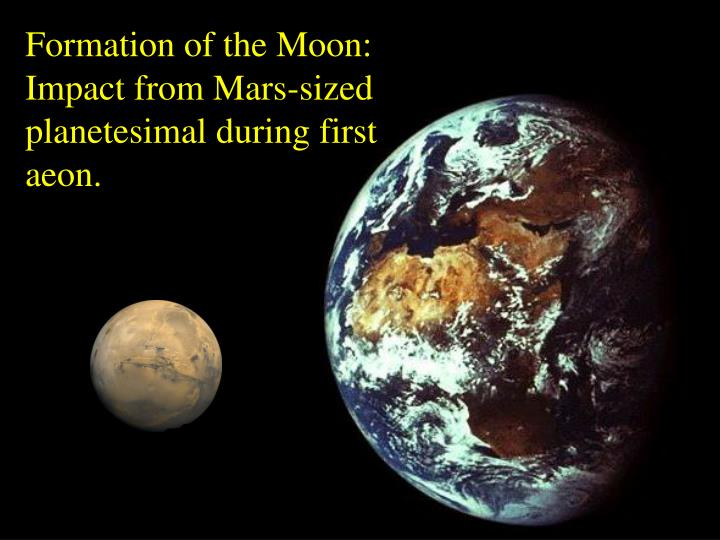 Formation of the Moon: Impact from Mars-sized planetesimal during first aeon.