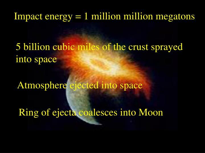 Impact energy = 1 million million megatons