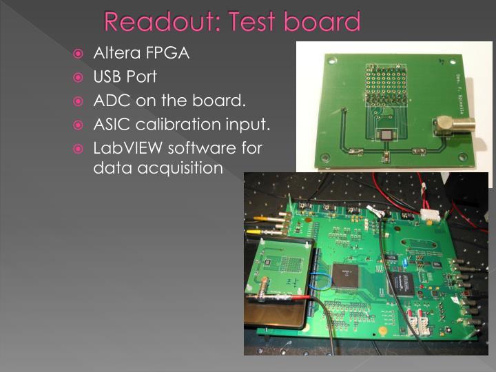 Readout: Test board