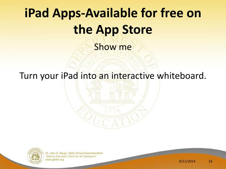 iPad Apps-Available for free on the App Store