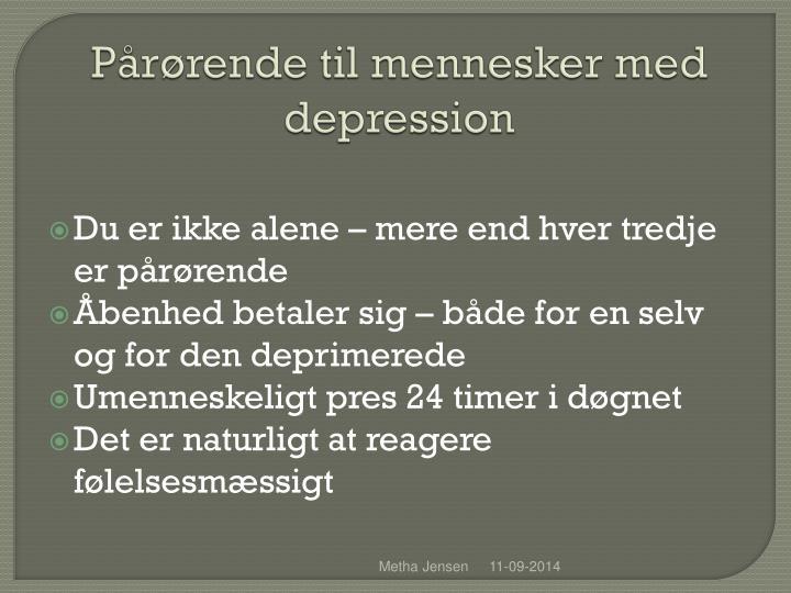 P r rende til mennesker med depression1