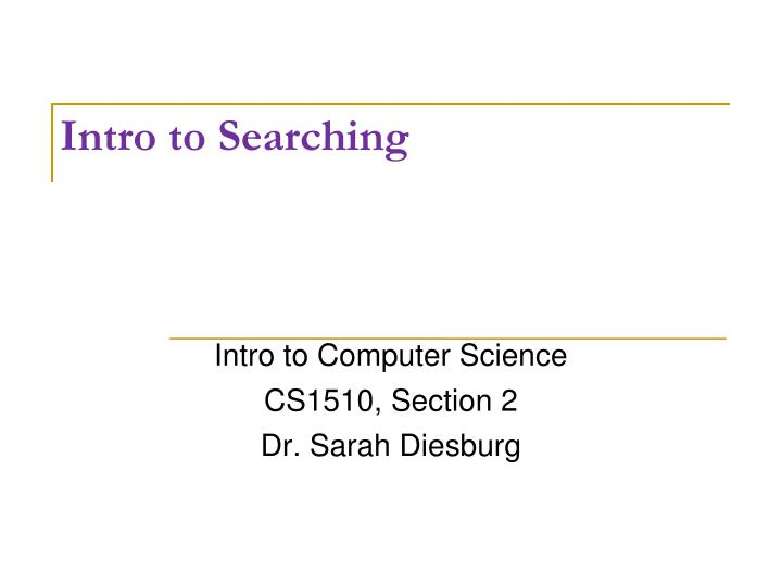 intro to searching n.