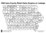 1980 iowa county retail sales surplus or leakage