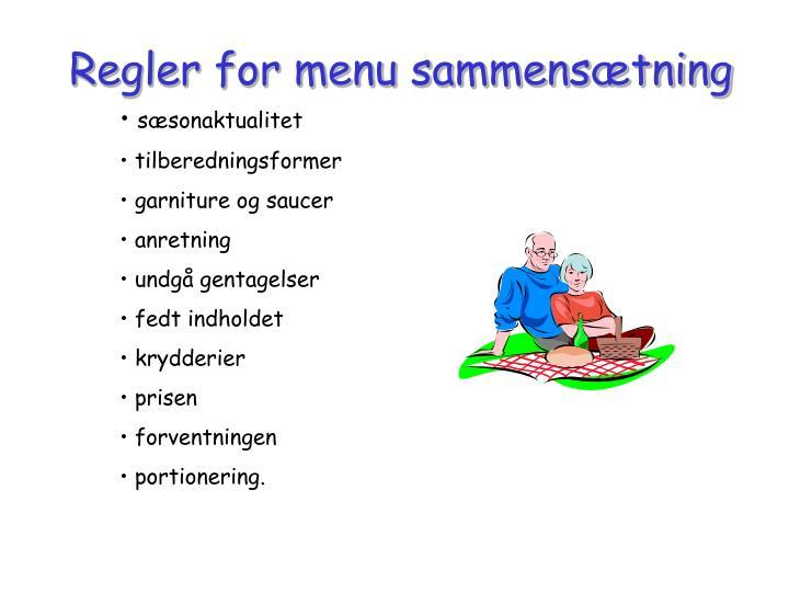 Regler for menu sammens tning
