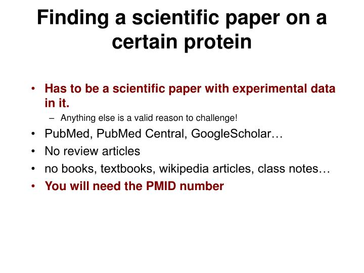 Finding a scientific paper on a certain protein
