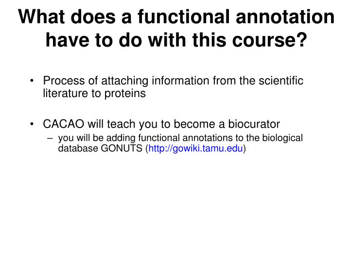 What does a functional annotation have to do with this course?