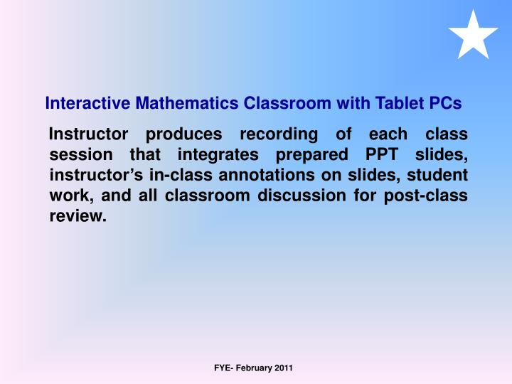 Interactive Mathematics Classroom with Tablet PCs
