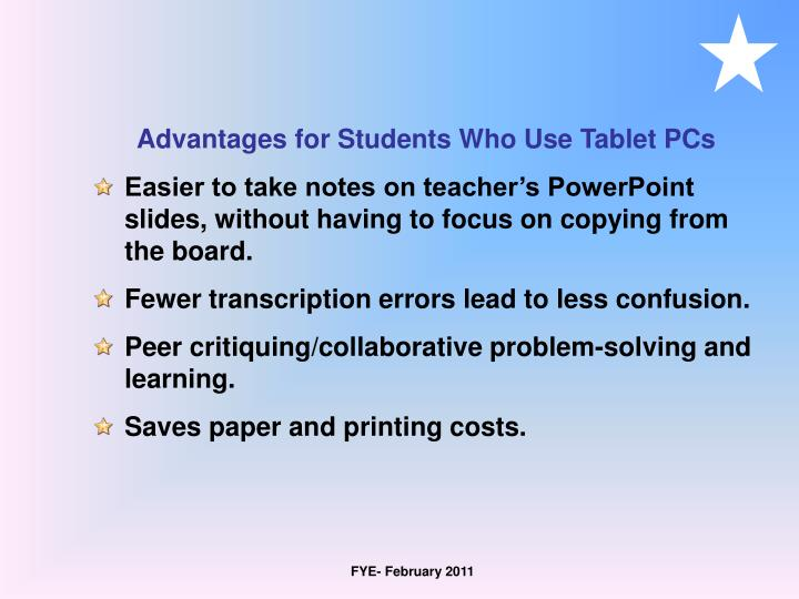 Advantages for Students Who Use Tablet PCs